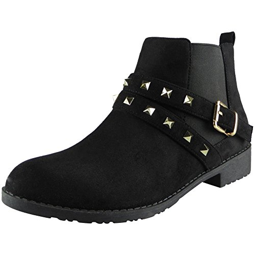 Loud Look Ladies Studded Buckle Low Heel Work Chelsea Ankle Boots Flat Shoes Size 4-8 Black Suede r57SmAY