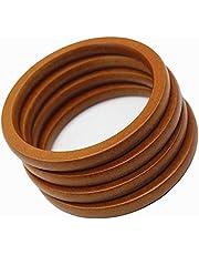 Hacbop 4PCS Wooden Round Shaped Handles Replacement for Handmade Bag Handbags Purse Handles