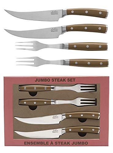 (La Cote Signature Series Knife Set High Carbon German Steel ABS Handle (Steak Knives & Fork Set))