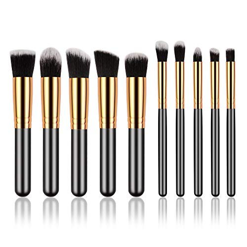 Mini Make Up Brush Set, 10pcs Golden Black Foundation Powder Eyebrow Eyeliner Blush Concealer Brushes Kit (Black)
