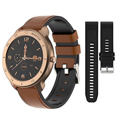 MAXTOP Smart Watch Android Compatible with iPhone Samsung, Bluetooth Android Smart Watches Waterproof, Smartwatch iPhone Fitness Activity Tracker with Monitor Heart Rate Sleep for Women Men (Gold)  Price: $56.99