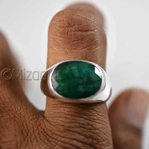 Emerald Corundum Men Signet Ring Raw Emerald Ring Husband Gift May Birthstone Anniversary gift Mens Emerald Ring 925 Sterling Silver