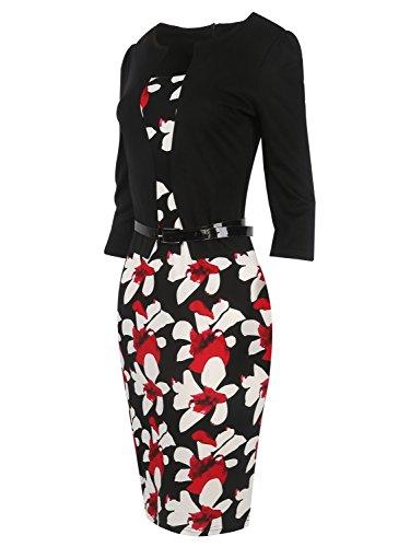 Bodycon Women red Babyonline One Business Dress Wear Piece Party Work Colorblock Flower Black to pxFqwx60