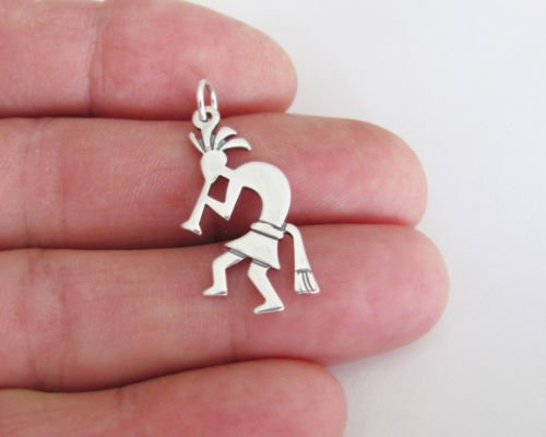 Sterling Silver 26mm 2 sided Kokopelli flat charmJewelry Making Supply Charm, Bracelets and More by Wholesale ()