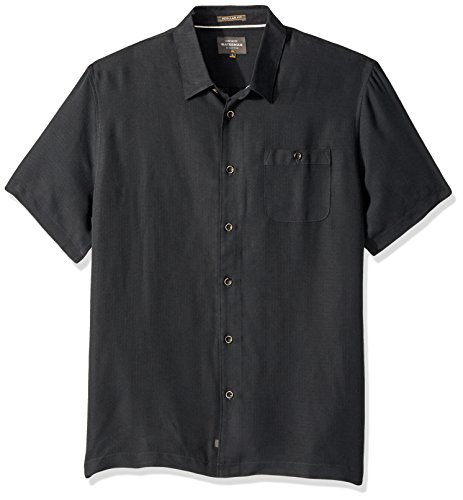 Shirt Hawaiian Street (Quiksilver Waterman Men's Avalon Regular Fit Button Down Shirt, Black L)