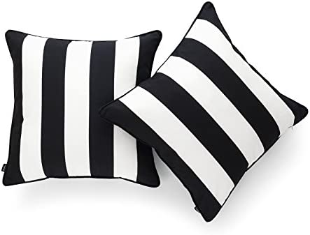 Amazon Com Hofdeco Decorative Throw Pillow Cover Only Indoor Outdoor Water Resistant Canvas Modern Black Stripes 18 X18 Set Of 2 Home Kitchen
