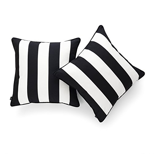 Hofdeco Indoor Outdoor Pillow Cover ONLY, Water Resistant for Patio Lounge Sofa, Black White Stripes, 18