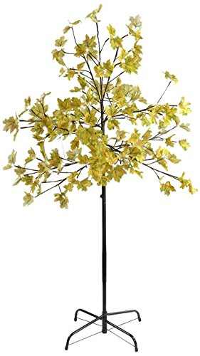 Northlight 5' LED Lighted Artificial Fall Harvest Yellow Maple Leaf Tree - White Lights