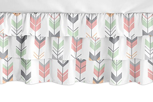 Sweet Jojo Designs Coral, Mint and Grey Woodland Girl Ruffled Tiered Baby Crib Bed Skirt Dust Ruffle for Mod Arrow Collection