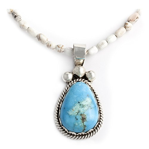 Delicate $450Tag Drop Silver Authentic Navajo Native American Natural Turquoise Necklace and Pendant