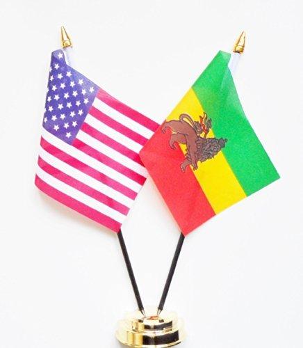 United States of America & Ethiopia Lion of Judah Friendship Table Flag Display 25cm (10'')