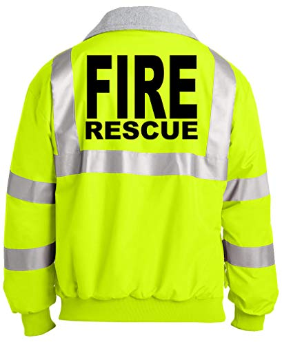 - FIRE Rescue - Fireman Fighter - Unisex Hi-Vis Safety Green Jacket, XL