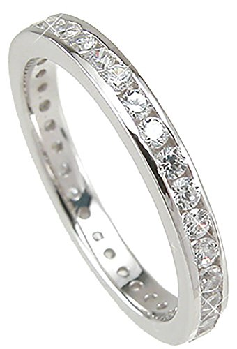 Channel Set Stackable (Sterling Silver Channel Set CZ Stackable Band Wedding Ring Size 7)