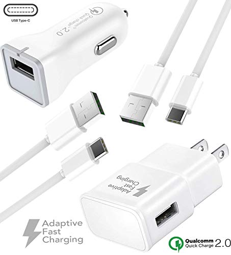 (Note 9 USB Type-C Cable Adaptive Fast Wall Charger Samsung Galaxy S9, Galaxy S9 Plus, Galaxy S8, LG G6 G5 V30 V20, Google Pixel 2, Nexus 5X 6p, GoPro5 OnePlus 5, HTC U11 (Wall + Car Charger + 2 Cable))