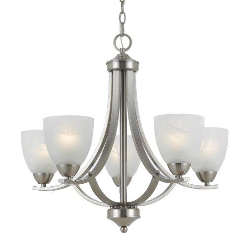 Kira Home Weston: Triarch 33293 5 Light Value Large Chandelier, Satin Nickel