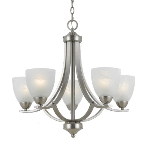 (Triarch 33293 5 Light Value Large Chandelier, Satin Nickel)