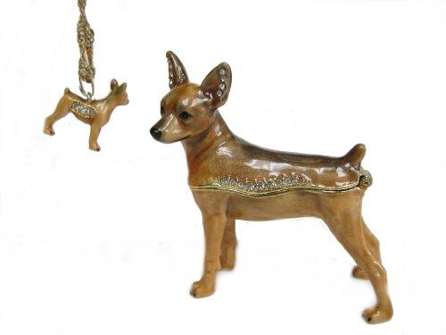 Brown Miniature Pinscher Bejeweled Trinket Box (Bejeweled Miniature)