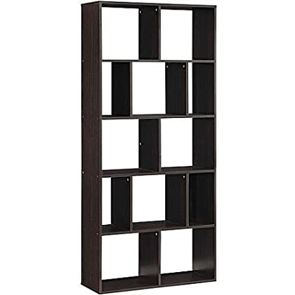 Wall Leaning Bookcase In Espresso Finish With 12 Cubby Shelves