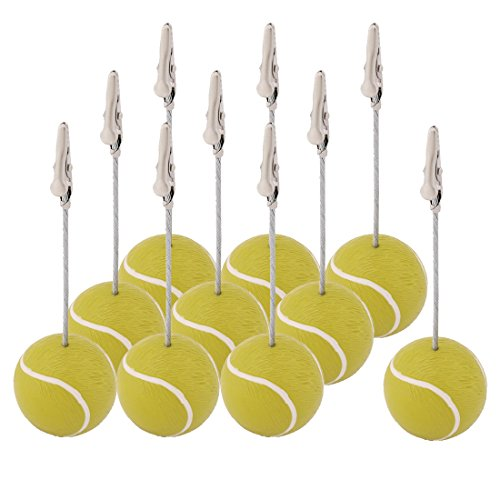 uxcell Resin Home Tennis Ball Shaped Tabletop Decoration Note Paper Memo Clip 10 ()