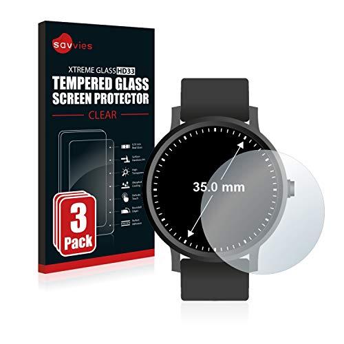 Savvies Panzerglas kompatibel mit Armbanduhren (Kreisrund, Durchmesser: 35 mm) (3 Stück) – Echt-Glas, 9H Härte, Anti…