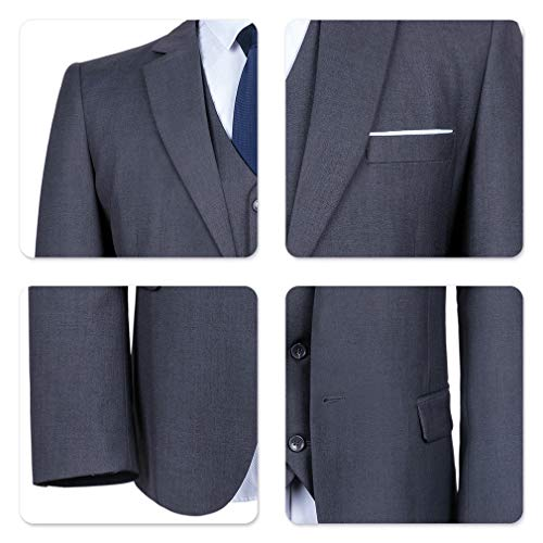 YIMANIE Mens Suit 3 Piece Single Breasted Jacket Two Button Slim Fit Blazer Tux Vest&Trousers, Grey, X-Small