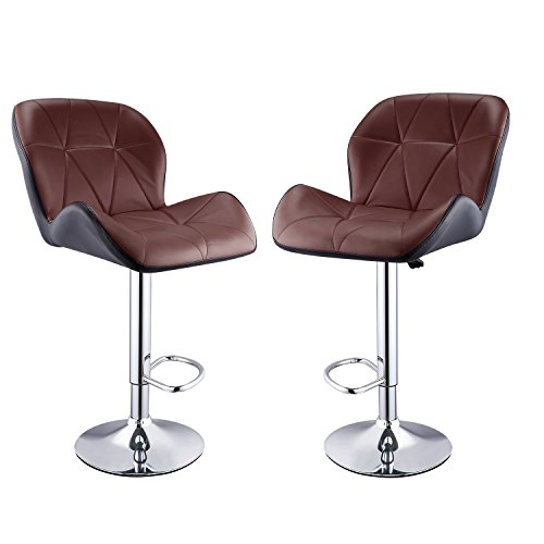 Homdox Barstools with Contoured armrests and seated back Leather Modern Hydraulic Swivel Bar stools, set of 2(Brown inside Black (2 Leather Match Chair)
