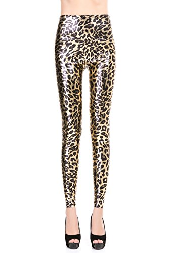 ZUUC Women's Faux Leather PU Slim Stretch High Waisted Leggings Skinny Pants (S, Tiger) -