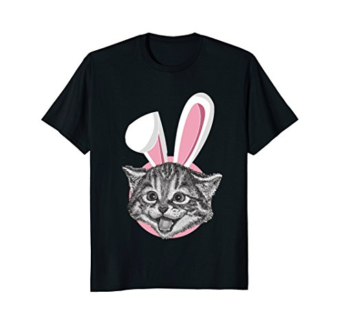 - Cat With Easter Bunny Ears Funny Cute Kitten Lover T-Shirt