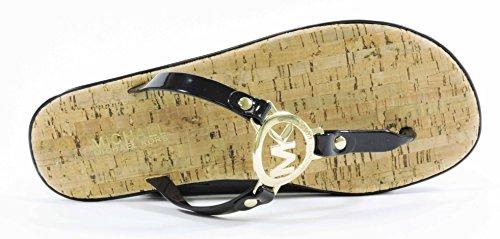 b87dd4ef6 Michael Kors Womens MK Charm Jelly Sandal Black Gold Hardware 8 M US