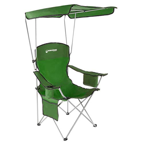 Chairs Green Outdoor Folding - Wakeman Outdoors Camp Chair with Canopy-300lb. Capacity Sunshade Quad Seat with Cup Holder, Cooler, Carry Bag-Tailgating, Camping, Fishing (Green)