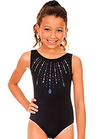 TumbleWear Girl's Simone Jewels Leotard (Child: 10-12, Black)