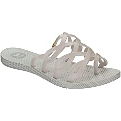 Womens Zaxy Infinity Lattice Summer Open Toe Holiday Beach Flat Sandals - Pearl - 7