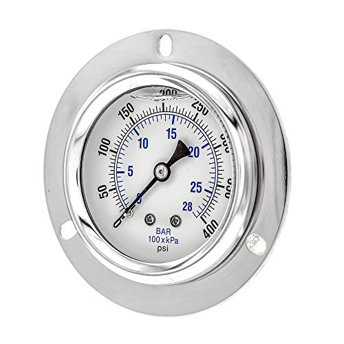 "PIC Gauge PRO-204L-254I Glycerin Filled Industrial Front Flanged Panel Mount Pressure Gauge with Stainless Steel Case, Brass Internals, Plastic Lens, 2-1/2"" Dial Size, 1/4"" Male NPT, 0/400 psi"