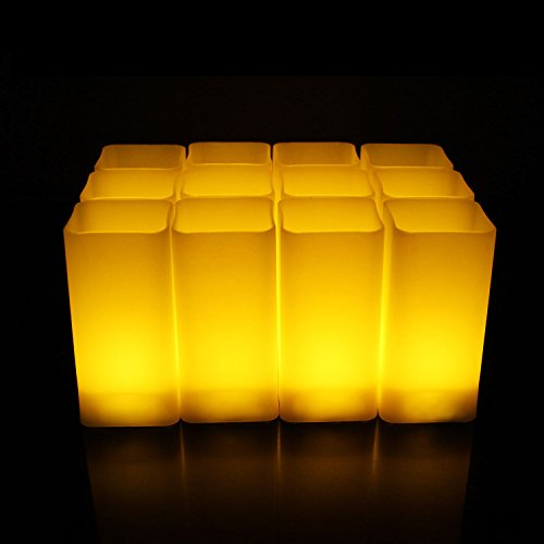 Decorative Square Flameless Candles, 12pcs 3 Inch Warm White Flickering Bright LED Electric Halloween Party Lights, Battery Operated (Non Stop For Halloween 2017)