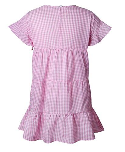 Pink Sundress Dress Summer Sexy Ruffle Party Mini Beach Fashion Women Dress Casual Chiffon BUETYART 84wAOqnpp