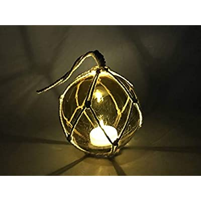 Handcrafted Nautical Decor LED Lighted Amber Japanese Glass Ball Fishing Float with White Netting Decorati: Home & Kitchen