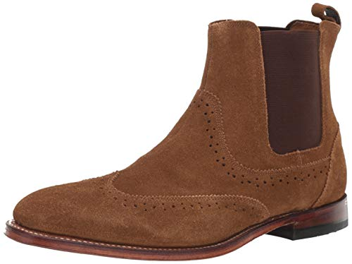STACY ADAMS Men's M2 Wingtip Suede Chelsea Boot, Tan, 11 D US