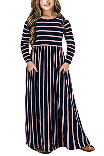 Price comparison product image Gorlya Girl's Long Sleeve Floral Print Loose Casual Holiday Long Maxi Dress with Pockets 4-12 Years (9-10Years/Height:140cm, Navy Stripe)