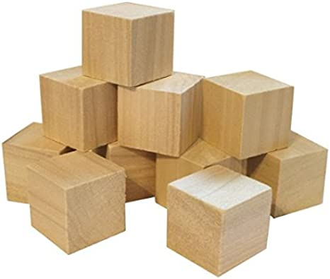 8 Piece Natural Hygloss Products Unfinished Wood Blank Wooden Building Block Cubes 2