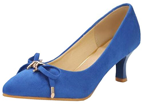 IDIFU Womens Elegant Faux Suede Pointed Toe Mid Kitten Heels Low Top Slip On Pumps Shoes With Bows Blue