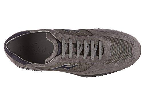 Hogan chaussures baskets sneakers homme en daim interactive h flock gris