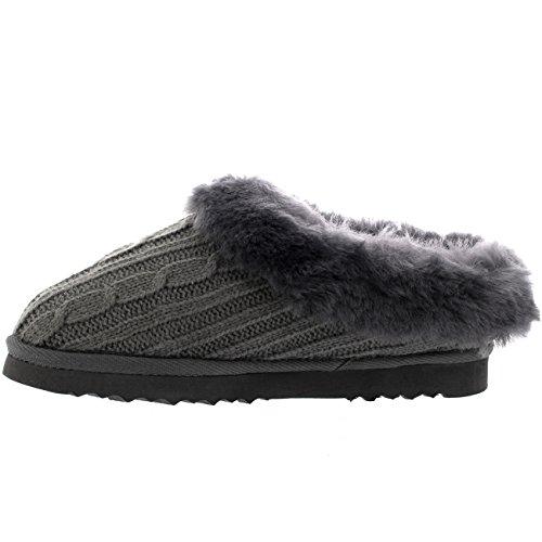 Polar Donna Genuina Pelle Di Pecora Australiana Foderato Di Pelliccia Pantofole A Maglia - Grigio - UK5/EU38 - YC0410