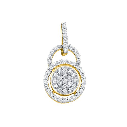 Womens 10K Yellow Gold Eternity Cluster Real Diamond Charm Pendant 1/5 CT (I2-I3 clarity; G-H color)