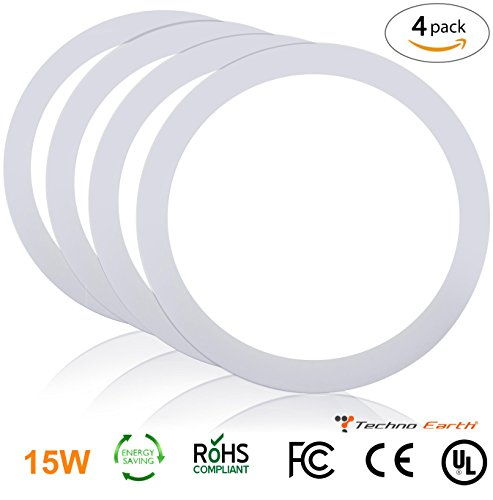 Techno Earth 15W Dimmable Round Ceiling Panel Led Ultra Thin Glare Light Kits with Led Driver AC 85-265V - Natural White - 4 - Mount Spotlight Low Voltage Surface