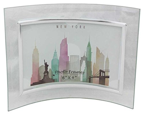 6 Pieces Glass Picture Frame Curved Horizontal Silver 6x4