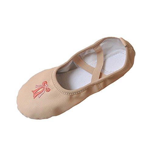 lisianthus002Little Kid Leder geteilter Sohle Ballett Schuhe Mädchen Hausschuhe, Pink - hautfarben - Größe: 28 EU Kinder