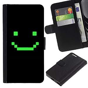 KLONGSHOP // Tirón de la caja Cartera de cuero con ranuras para tarjetas - Juego de ordenador Arte sonriente del Emoticon - Apple Iphone 6 PLUS 5.5 //