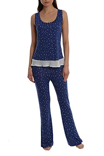 (Women's Printed Light and Airy Sleepwear Set Flowy Racerback Tank Top & Pajama Bottoms - Navy Star - Large)