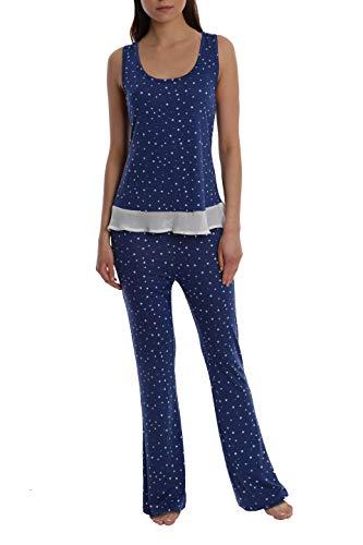(Women's Printed Light and Airy Sleepwear Set Flowy Racerback Tank Top & Pajama Bottoms - Navy Star - Small)