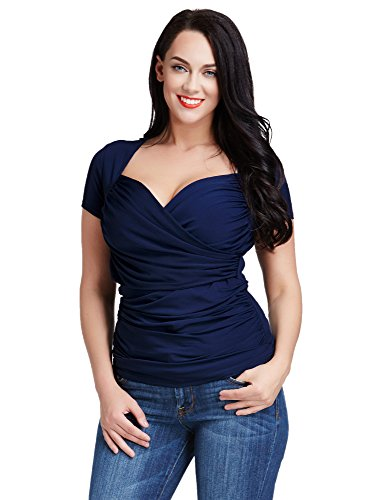LookbookStore Women Navy Plus Size Short Sleeve Sweetheart Faux Wrap Ruched Top Size 32W